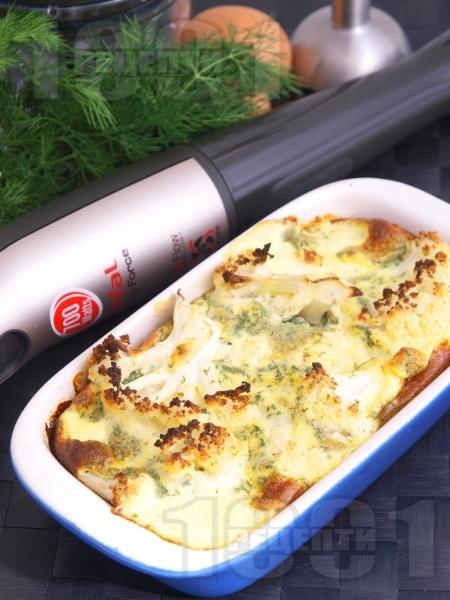 Вегетарианска запеканка от карфиол на фурна със заливка от яйца, прясно мляко, масло, горчица и копър на фурна - снимка на рецептата